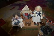 2 Vintage Lizzie High Dolls Sitting Girl With Cat And Betty Quilting Doll W/acc