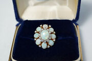 7.84tcw Vintage 9-opal Ring Guarded By 20 Full Cut Diamonds Of Vs1-vs2 Clarity