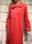 Vtg Plush Fur Robe-w/ Tags🦩hot Pink-50s Glam-house-lounge-dressing Gown-duster