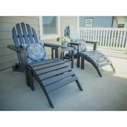 Outdoor Patio Chair Adirondack 4 Piece Black Synthetic Wood Foldable Ottoman Set