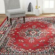 Large Area Rug For Living Room 8x10 Clearance Floral Red Indoor Carpet Under 100