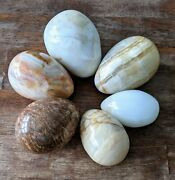 Lot Of 6 Vintage Large Brown Italian Italy Alabaster Marble Natural Stone Eggs