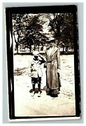 Vintage Early 1920's Rppc Photo Of Mother And Young Son Outside