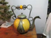 Antique Moroccan Teapot Ceramic And Metal Filigree Middle East Teapot Safi