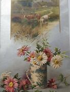 Winsch Merry Christmas Country Cow Yellow Blue Stoneware Flowers Stream Silver