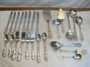 51 Pcs Reed And Barton Kings Park Stainless Steel Ss Flatware With Serving Pieces