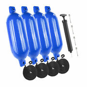 Inflatable Ribbed Blue Boat Fender 6.5x23 Inches 4 Pack Five Oceans Fo-4542