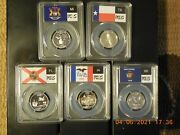 2004-s Silver Proof State Quarter Set Of 5 Pcgs Pr69 Slabs