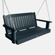 Outdoor Patio Furniture Porch Bench Swing 4 Ft. Navy Blue Synthetic Wood