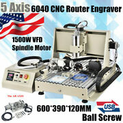 Usb 5 Axis Cnc 6040 Router Engraver Metal Drill Milling Machine 1.5kw 3d Cutter
