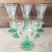 Rare Antique Set Of 6 Tiffin Dancing Nymph Glass. 3 Champagne And 3 Sherbet Glass.