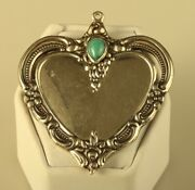 Vtg Sterling Signed Towle 1976 Heart Ornate Inlay Turquoise Stone Rare Pendant