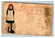 Vintage 1902 Tuckand039s Valentines Postcard Shy Girl - Very Early Card - Nice