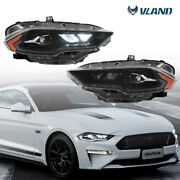 Pair Lh And Rh Amber Led Drl Projector Headlights Kit For 2018-2021 Ford Mustang