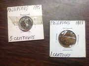 Set Of Filipino /american Coins 1944 And 1945 Antique Foreign Coins Final Price