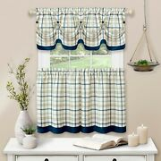 Tattersall Window Curtain Tier Pair And Valance Set - 58x24 - Blue New Open Pack
