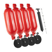 Inflatable Ribbed Red Boat Fender 6.5x23 Inches 4 Pack Five Oceans Fo-4541