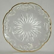 Christmas Frosted Glass Cookie Plate Platter Stars Bells Scalloped Gold Rim Xmas