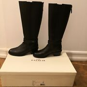 Coach Pebcey Soft Milled Leather Women's Boots 34a7526-black Size 7