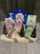 Home Elements Village Christmas Ice Houses Led Color Changing Lights