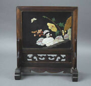 Antique Chinese Mother Of Pearl Inlaid Table Screen