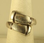 Vtg Signed Towle Sterling Wrap Crossover Spoon Bamboo Line Patterned Ring 7 1/2