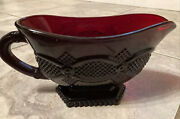 Vintage Avon 1876 Cape Cod Collection Ruby Red Glass Gravy Boat