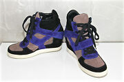 Sneakers Wedge Scratch Suede Blue Black Ash Limited Size 39 Mint