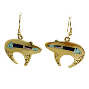 Ray Tracey Knifewing Navajo 14k Gold Turquoise Opal Sugilite Inlay Bear Earrings