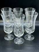 ✅ Vintage Set Of 6 Clear Clear Glass Fluted Footed Cordial Stemmed Liqueur Shot