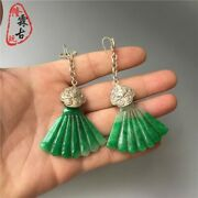 Unique Antique Collectible Ming And Qing Old Jadeite Miao Silver Earrings