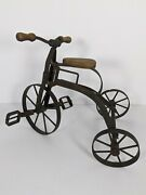 Vintage Wood / Wrought Iron Children's Mini Tricycle Toy Antique Replica Repro