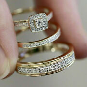 14k Yellow Gold Finish 2.30 Ct His And Her Wedding Trio Ring Diamond Bridal Sets