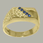 18ct Yellow Gold Natural Sapphire Mens Band Ring - Sizes N To Z