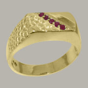 18ct Yellow Gold Natural Ruby Mens Band Ring - Sizes N To Z