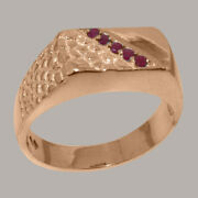 14ct Rose Gold Natural Ruby Mens Band Ring - Sizes N To Z
