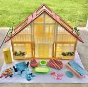 1978 Yellow Barbie Dream House A Frame Furniture And Accessories Mattel 1970s Vtg