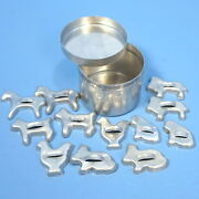 13pc Vtg Toy Mini Cookie Cutter And Flour Tin Horse Dog Chicken Lion Cat Rabbit