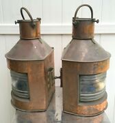 Large Port And Starboard Meteorite Copper Lanterns 25