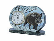 12 Hours Clock Table Wild Boar New Mantel Hunt Stone Serpentinit Hermle