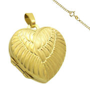 Medallion Heart Angel Wings Amulet Gold Medium 2 Photos Also Engraving Or Chain