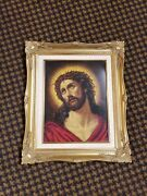 Vtg Gold Framed Counted Cross Stitch Thorns Of Jesus... And 1st Place Ribbon