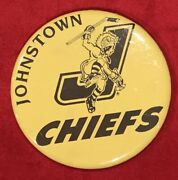 Vintage 1980's Johnstown Chiefs Echl Hockey Pin Pinback Button Old Early Nhl