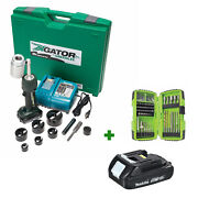 Greenlee Ls50l11b Knockout Punch Driver Tool Kit W/ Free Battery And Drill Bit Set