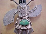 Vintage Kachina Thunderbird Turquoise And Sterling Silver Bolo Tie Nice