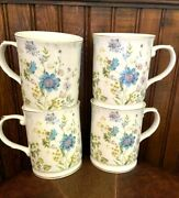 New Grace Teaware Set Of 4 Tea Coffee Cups Floral Blue White Gold Rimmed