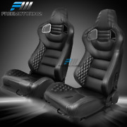 Adjustable Universal Racing Seat Gray Stitch Puand Carbon Leather X2and Dual Sliders