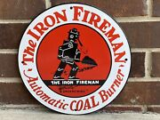12in The Iron Fireman Coal Anthracite Porcelain Enamel Sign