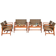 8-piece Wood And Wicker Outdoor Loveseat Sectional Set
