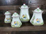 Euc Set Of 4 J. Willfred Rooster Canisters/cookie Jars Made In Portugal 8-12